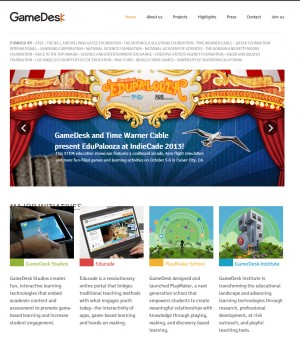 게임을 이용해 수학과 물리를 등을 가르칠 방법을 연구하고, 그 교수법을 인터넷에 공개하고 있는 게임 데스크 홈페이지.